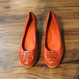 Tory Burch orange wedges Sz. 9.5